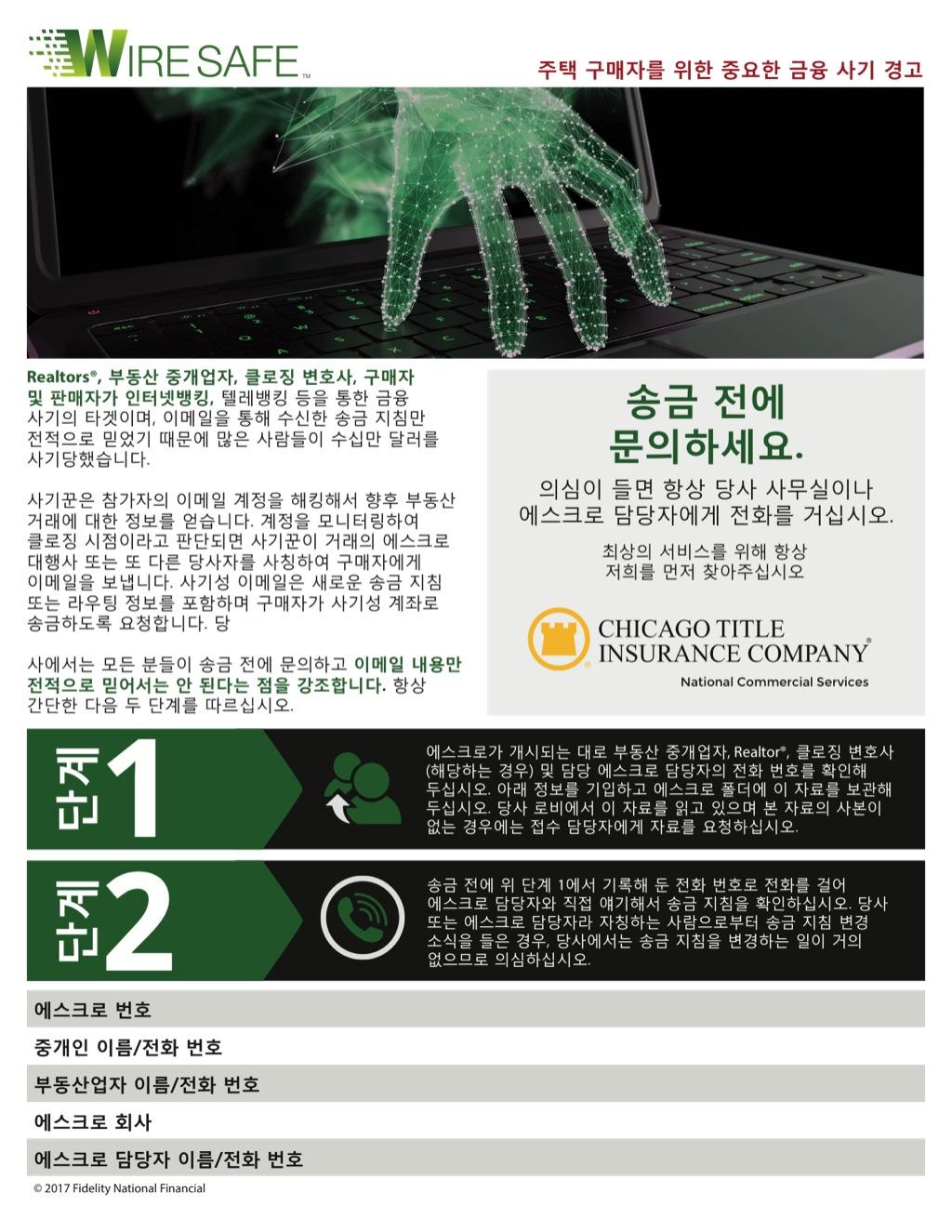Corefact Wire Safe Buyer Flyer - Korean - CTIC NCS