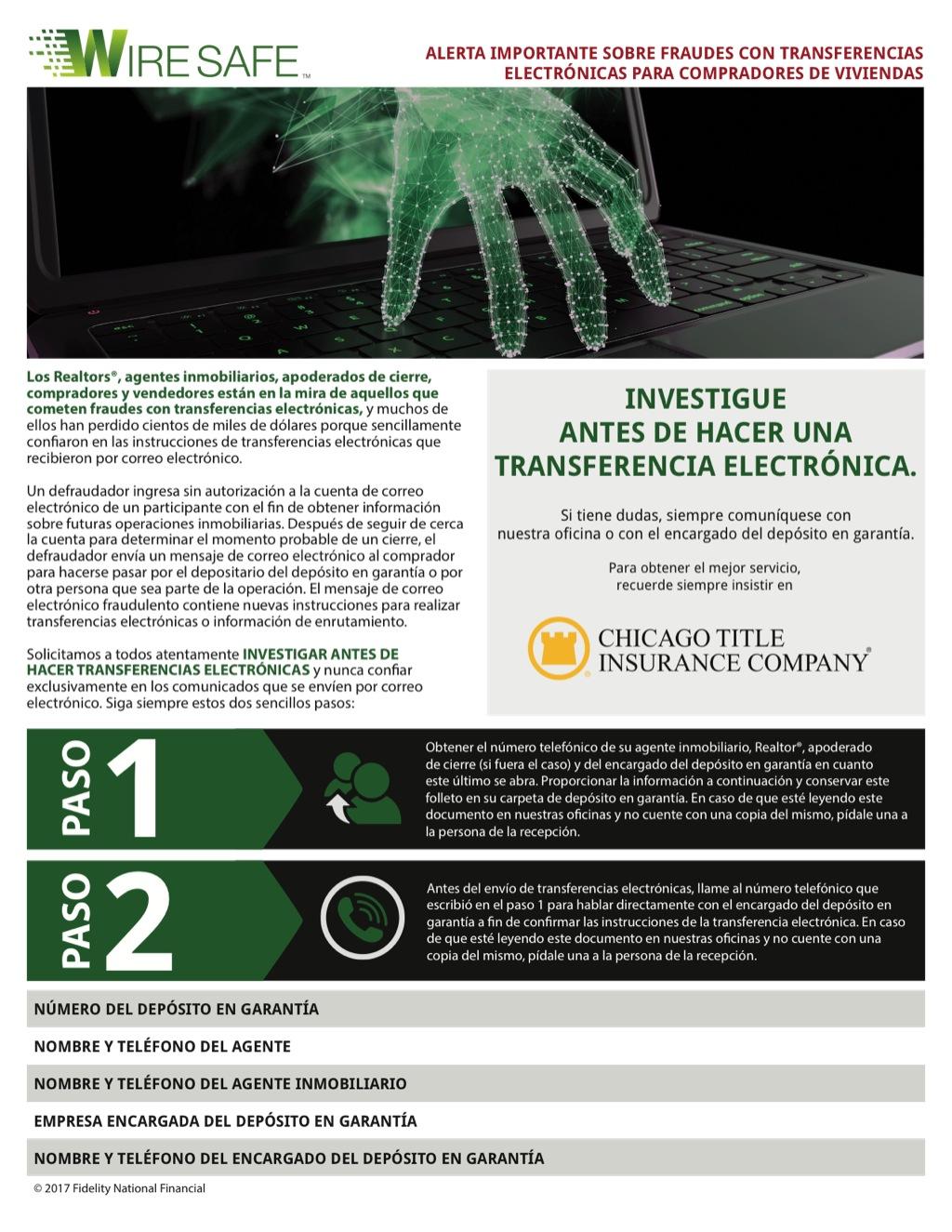 Corefact Wire Safe Buyer Flyer - Spanish - CTIC