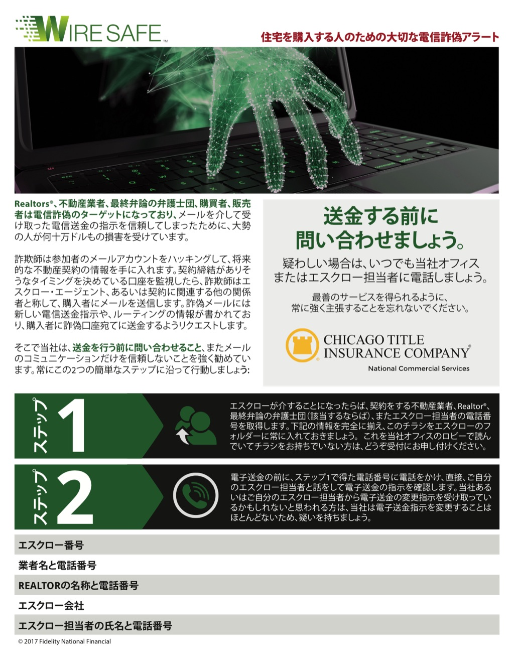 Corefact Wire Safe Buyer Flyer - Japanese - CTIC NCS