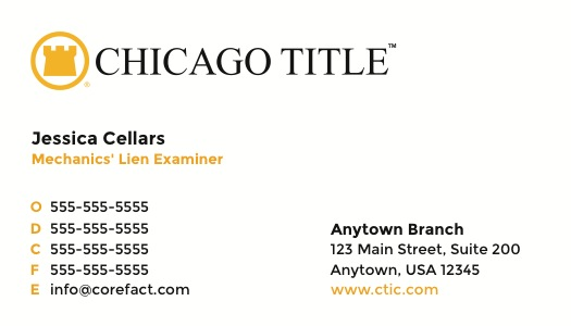 Corefact Chicago Title (Standard front with alternate back)