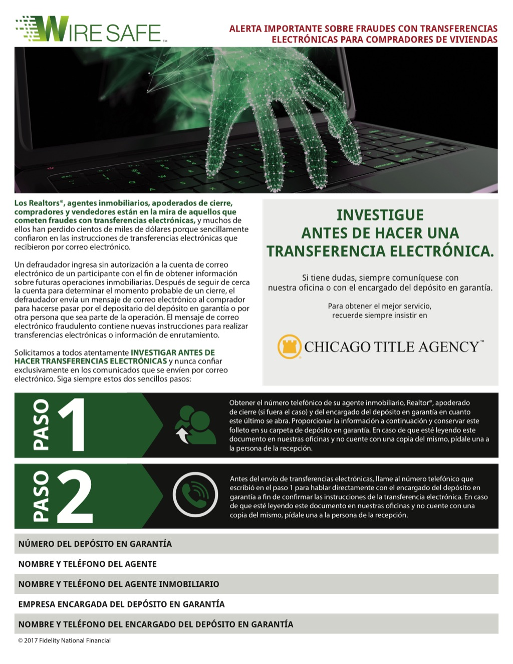 Corefact Wire Safe Buyer Flyer - Spanish - CTA