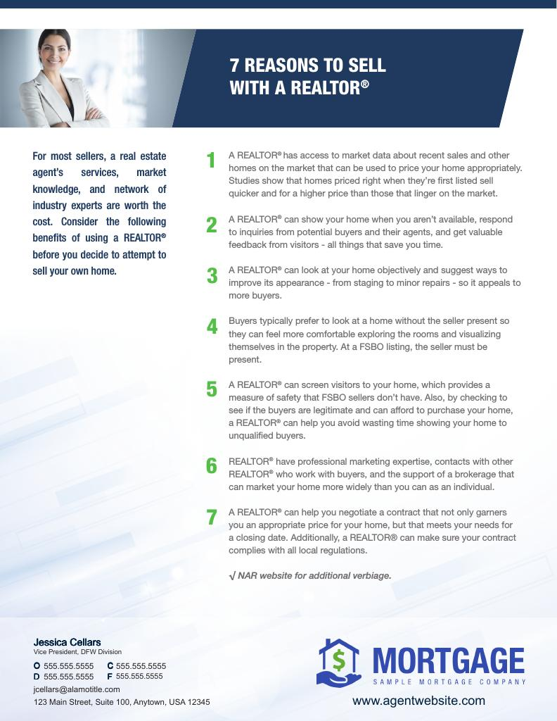 Corefact 7 Reasons to sell with a REALTOR - AGENT