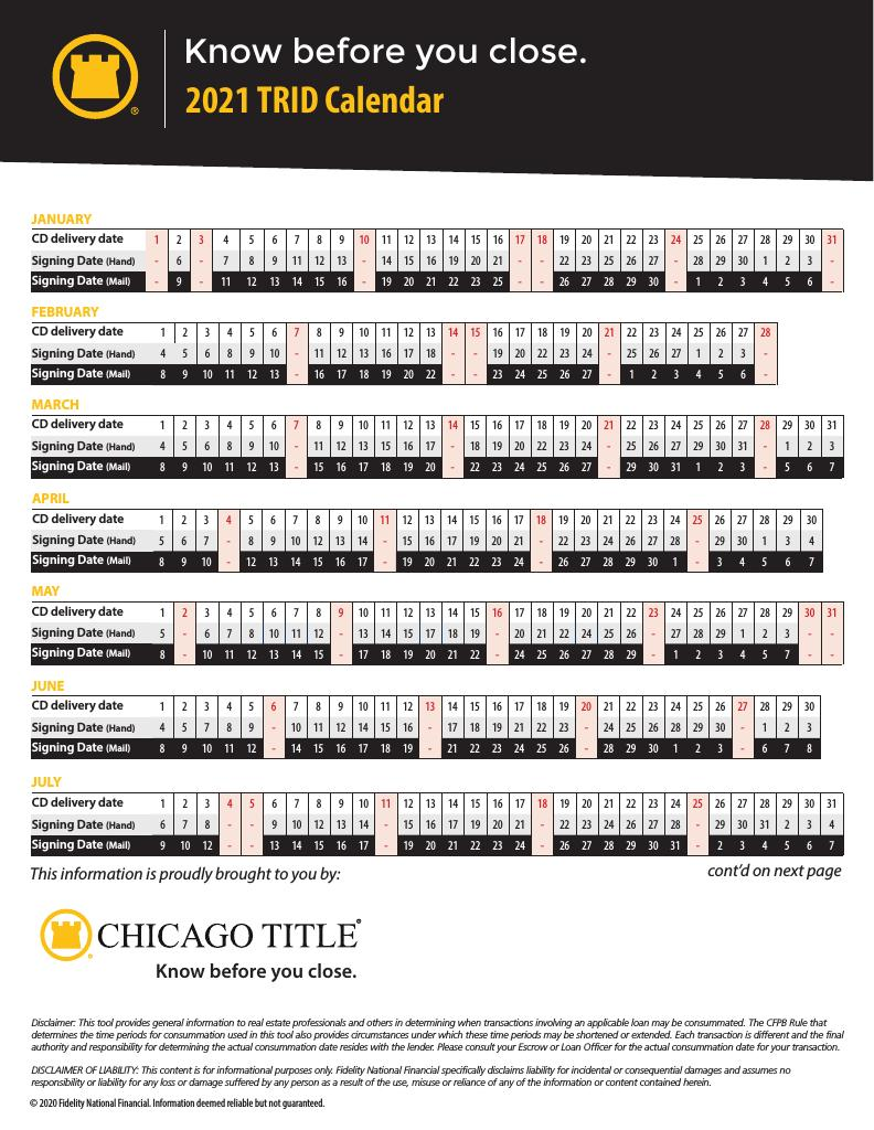 Corefact 2021 TRID Calendar - CTT