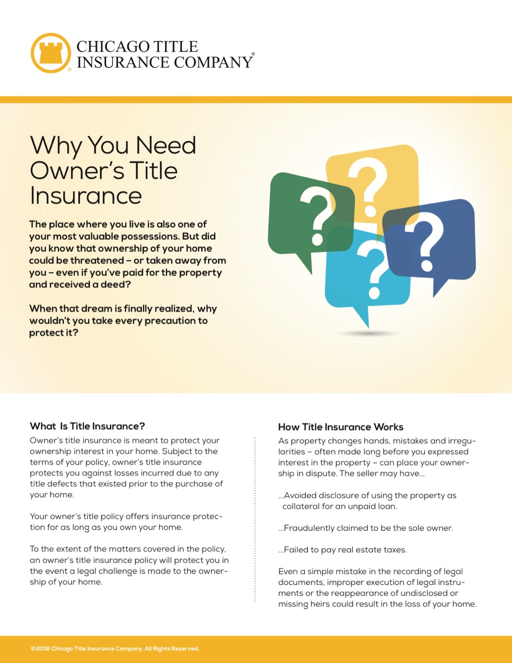 Corefact Why Owner's Title Insurance - CTIC